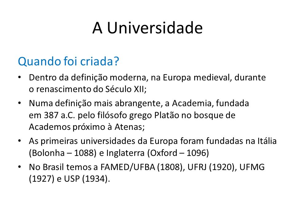A Universidade Quando foi criada