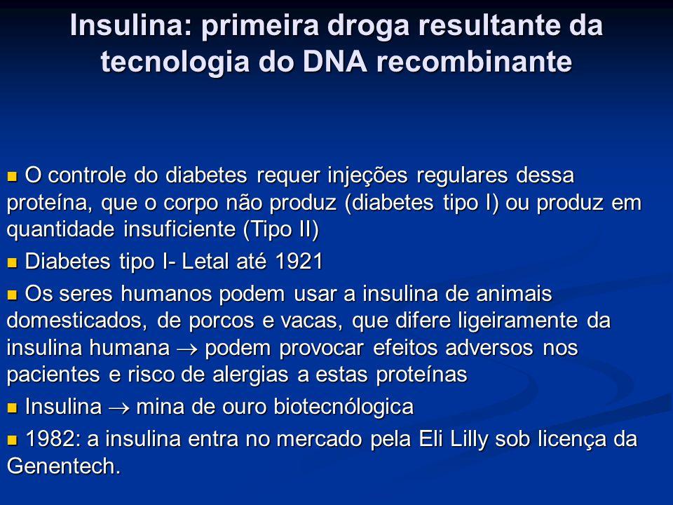 Insulina: primeira droga resultante da tecnologia do DNA recombinante
