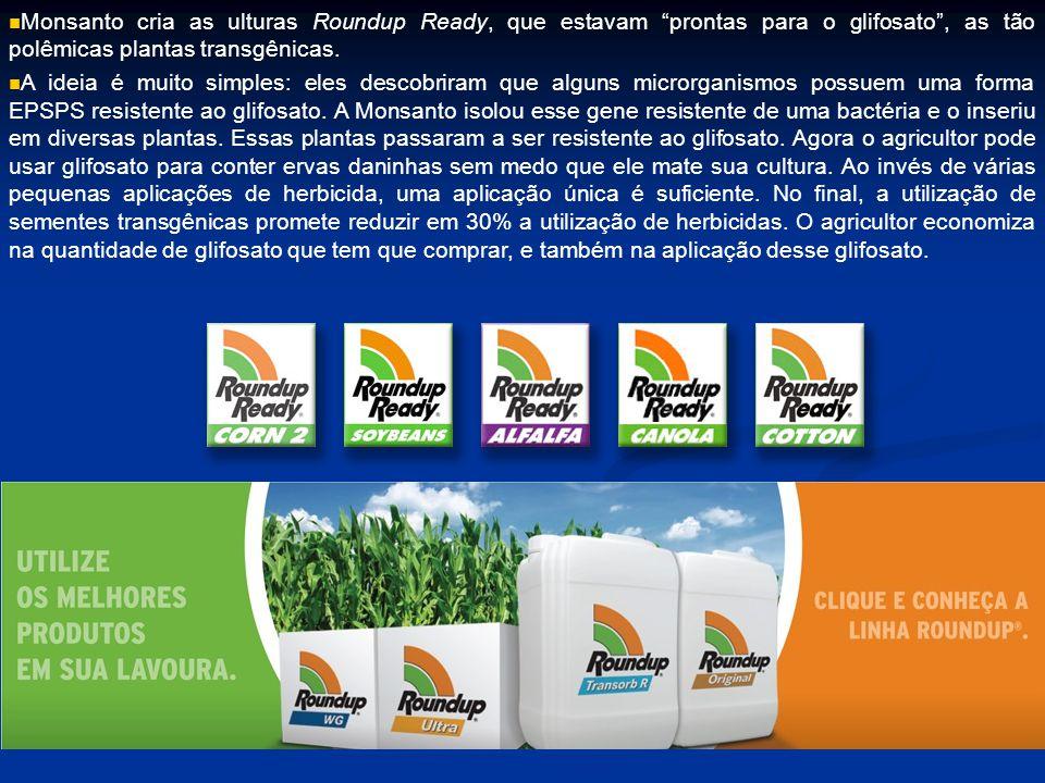 Monsanto cria as ulturas Roundup Ready, que estavam prontas para o glifosato , as tão polêmicas plantas transgênicas.