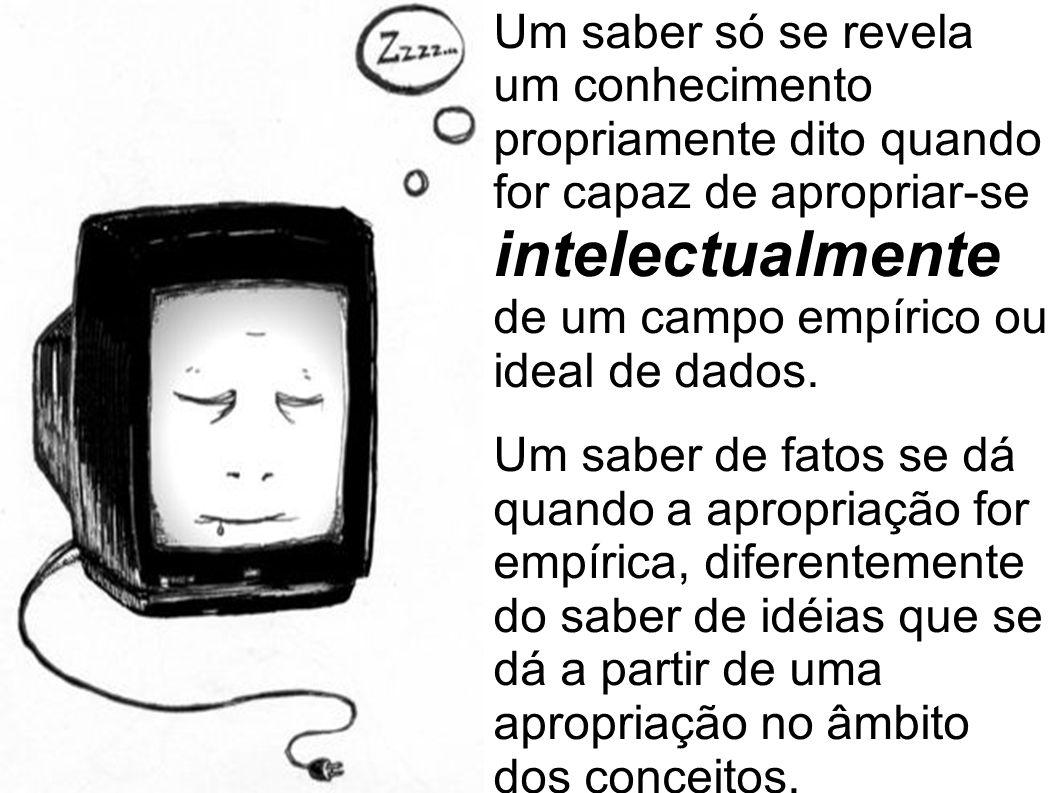 Um saber só se revela um conhecimento propriamente dito quando for capaz de apropriar-se intelectualmente de um campo empírico ou ideal de dados.