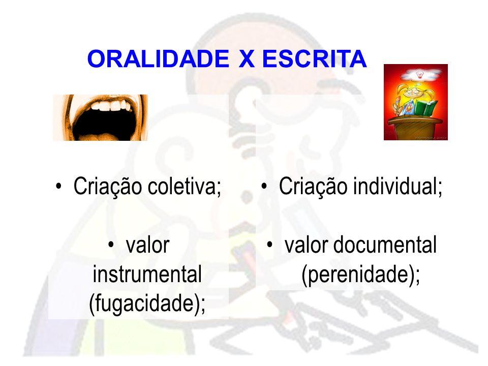 valor instrumental (fugacidade); Criação individual;