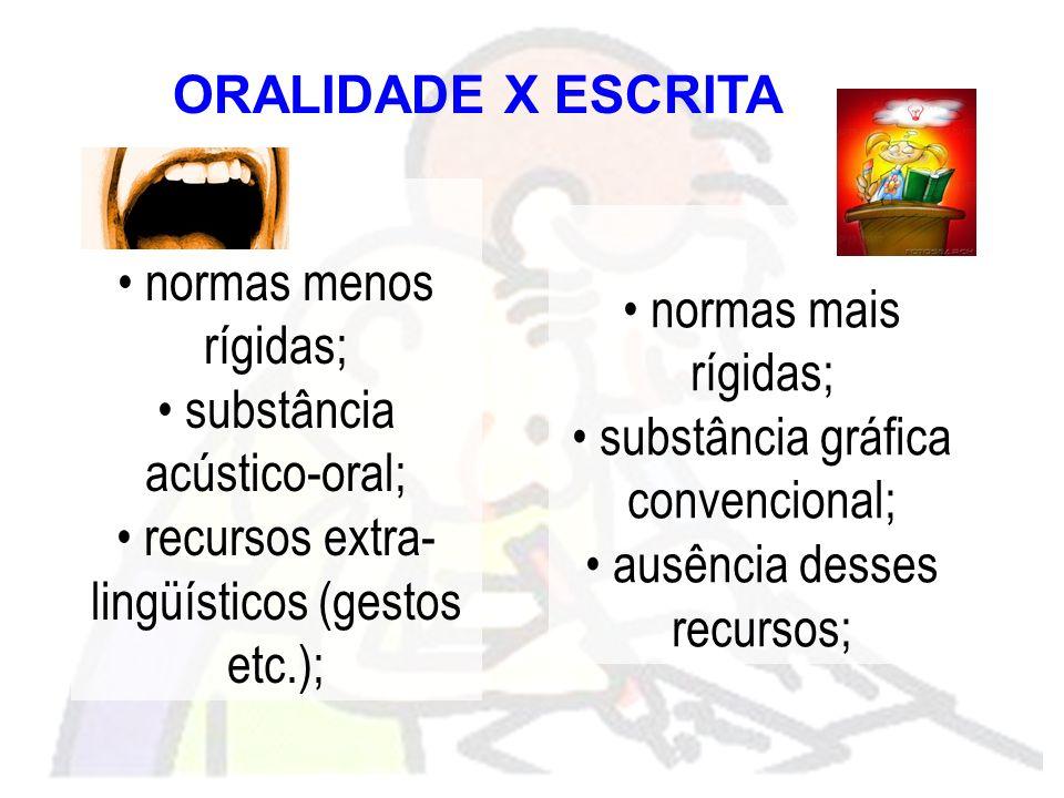 substância acústico-oral; recursos extra-lingüísticos (gestos etc.);