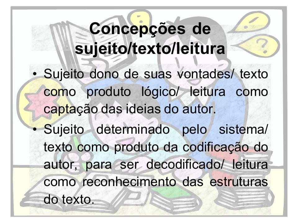 Concepções de sujeito/texto/leitura