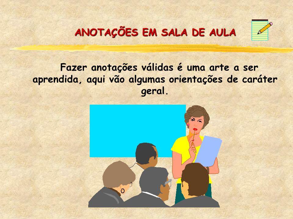 ANOTAÇÕES EM SALA DE AULA