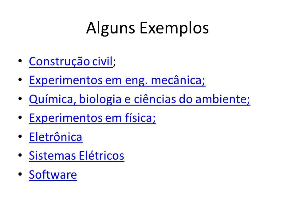 Alguns Exemplos Construção civil; Experimentos em eng. mecânica;