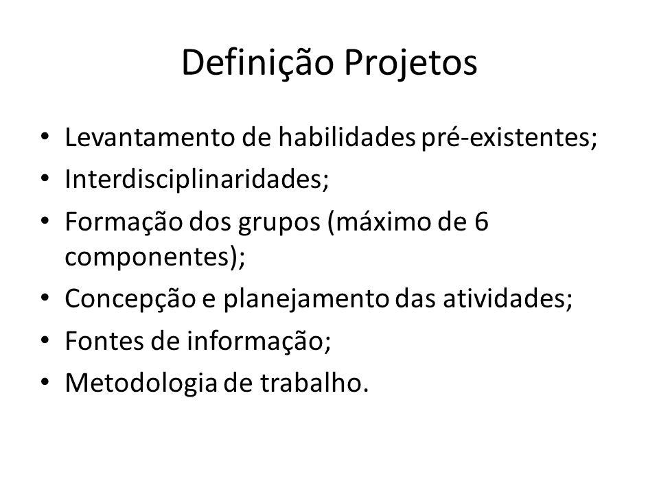 Definição Projetos Levantamento de habilidades pré-existentes;