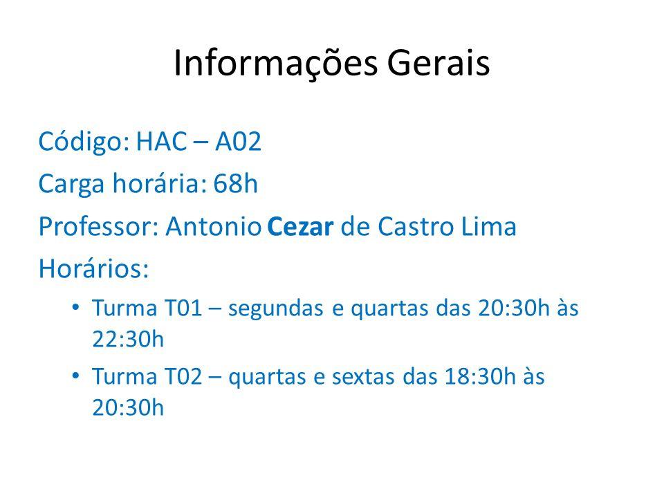 Informações Gerais Código: HAC – A02 Carga horária: 68h