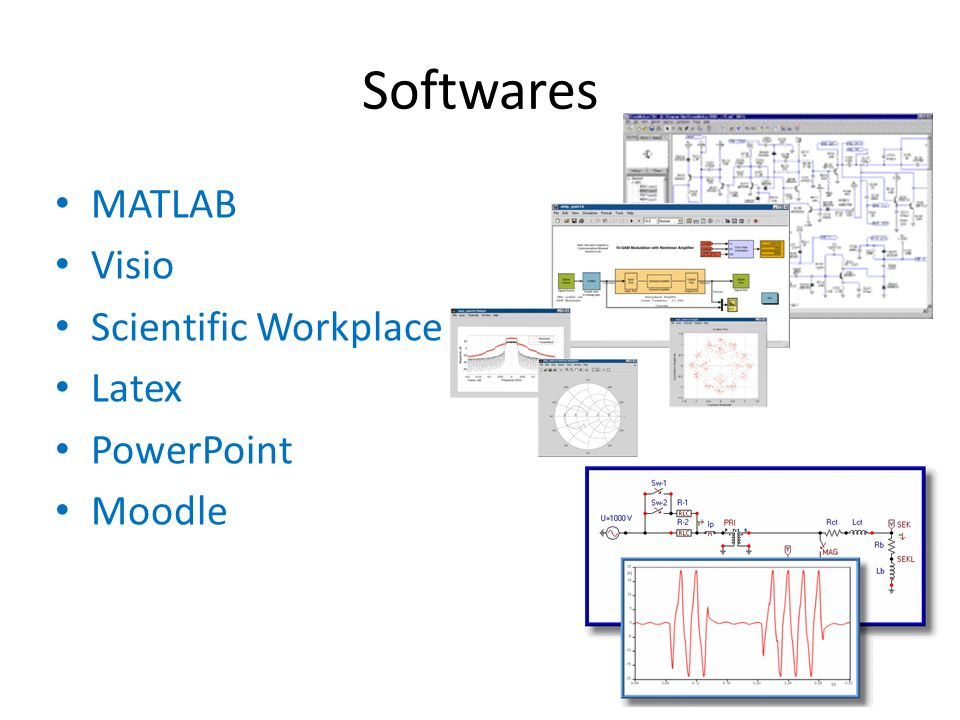 Softwares MATLAB Visio Scientific Workplace Latex PowerPoint Moodle