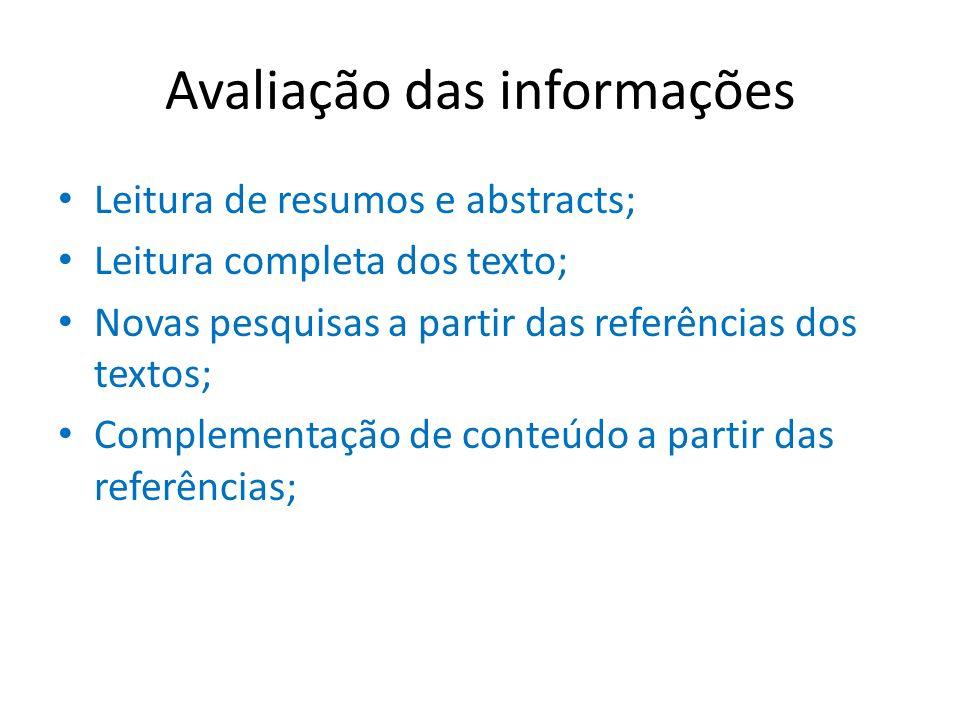 Avaliação das informações