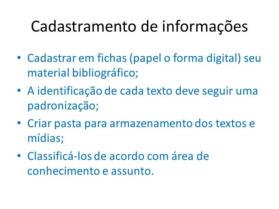 Cadastramento de informações