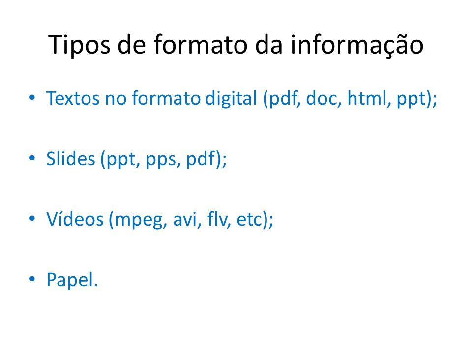 Tipos de formato da informação
