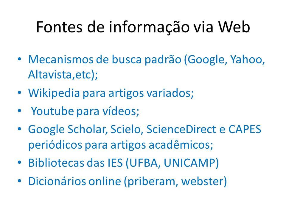 Fontes de informação via Web