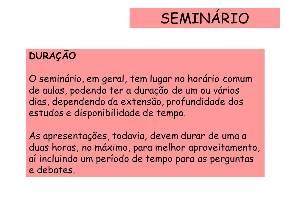 SEMINÁRIO DURAÇÃO.