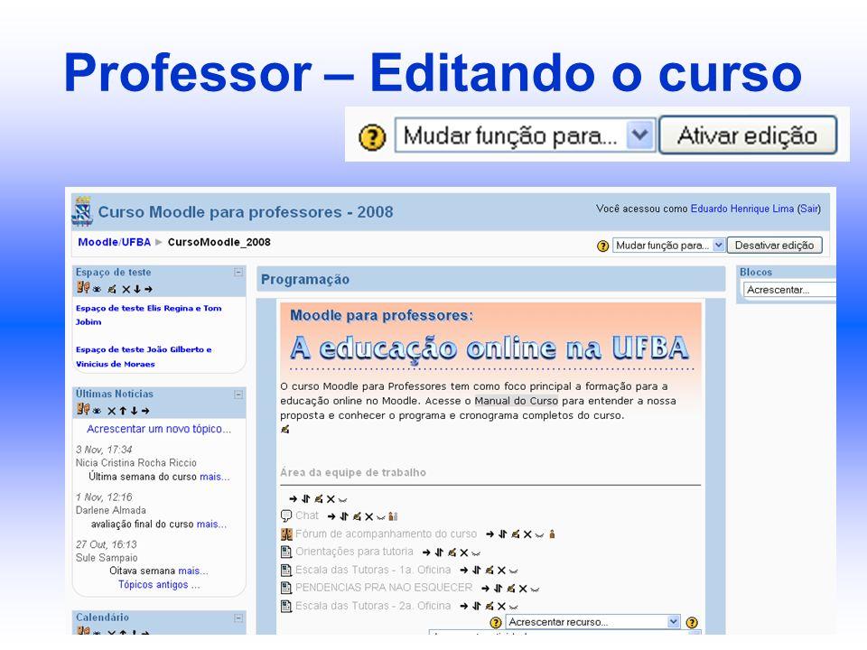 Professor – Editando o curso