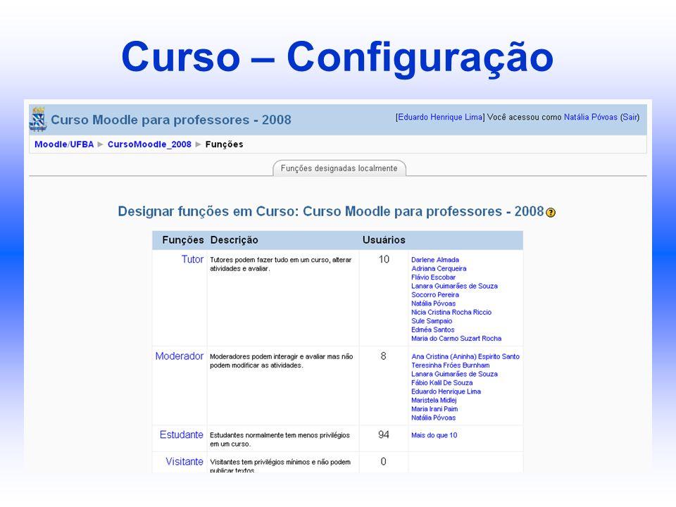 Curso – Configuração