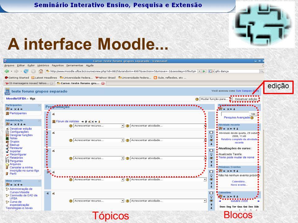 A interface Moodle... edição Tópicos Blocos
