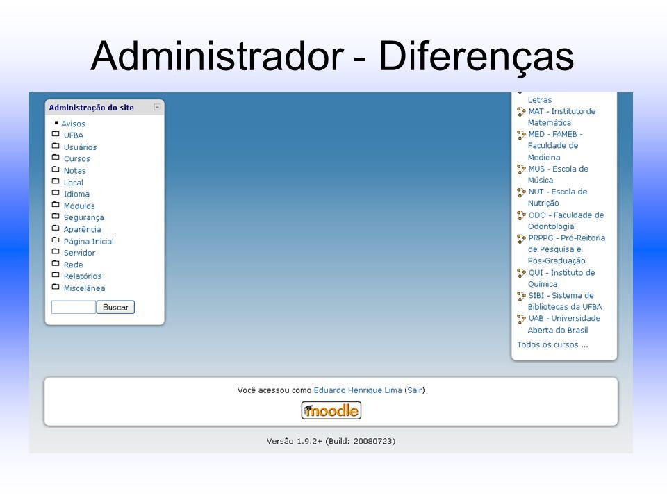 Administrador - Diferenças