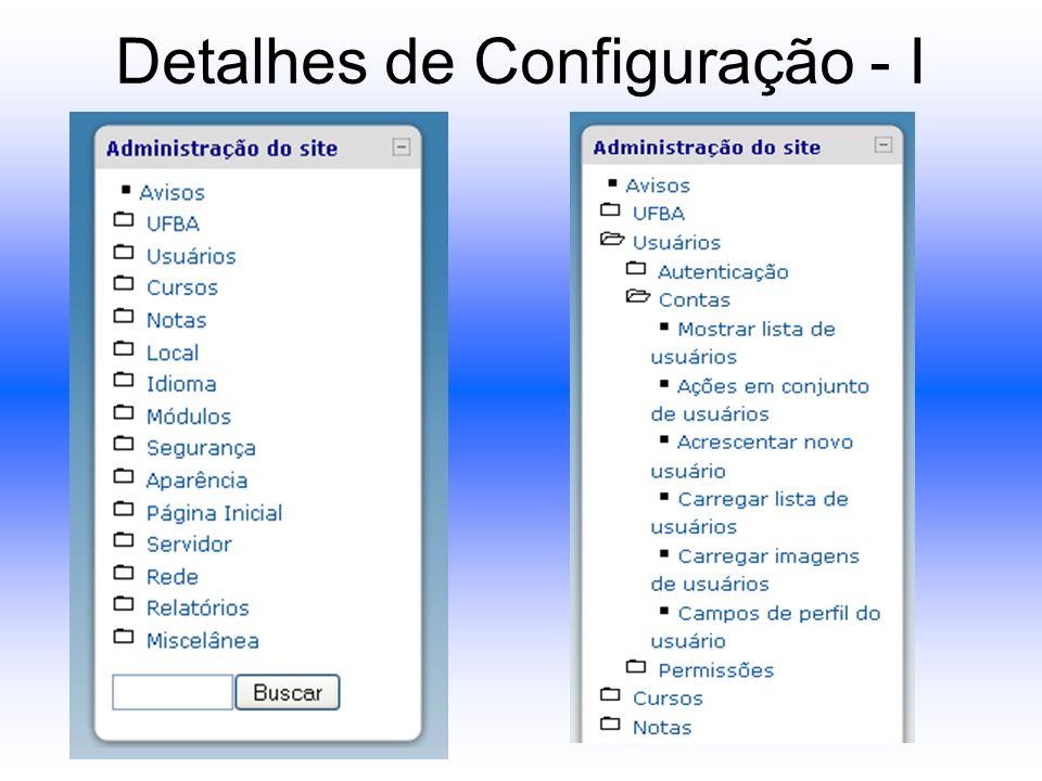 Detalhes de Configuração - I