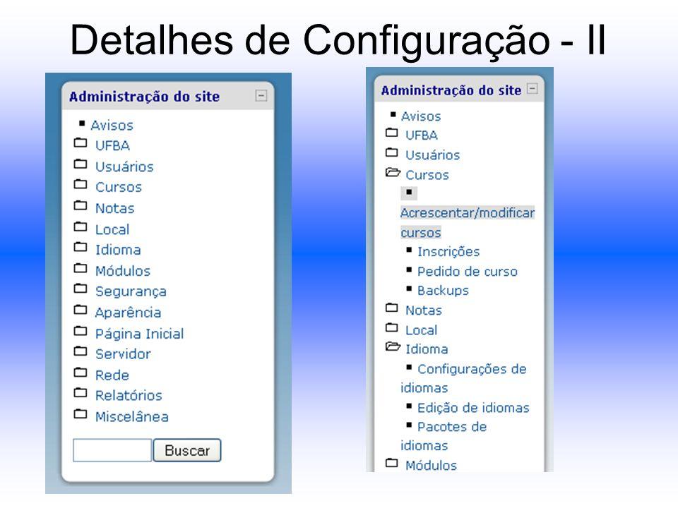 Detalhes de Configuração - II