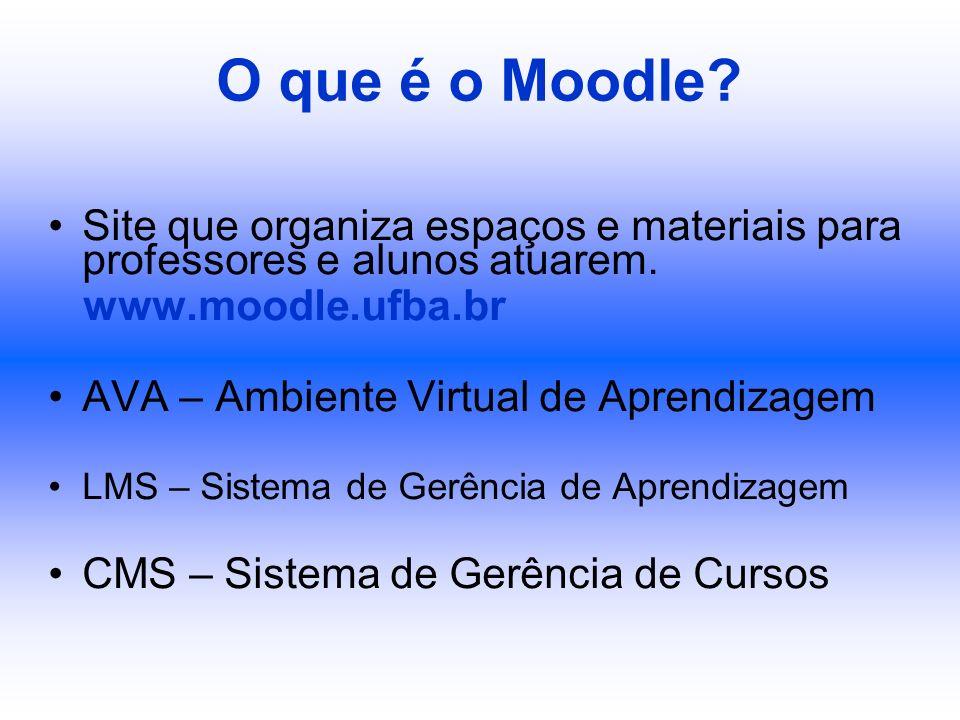 O que é o Moodle Site que organiza espaços e materiais para professores e alunos atuarem. www.moodle.ufba.br.