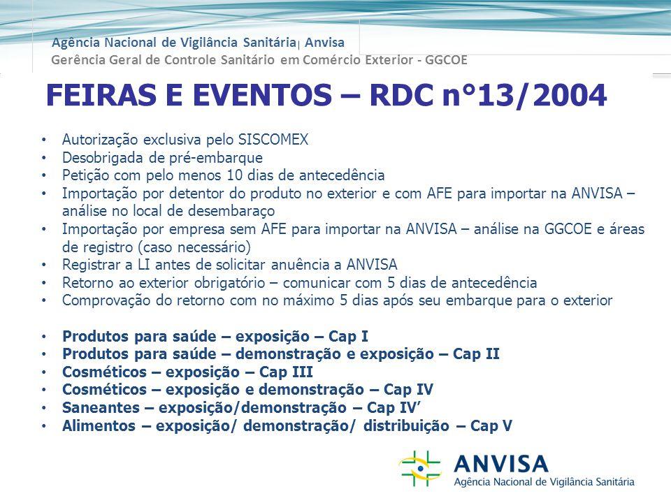 FEIRAS E EVENTOS – RDC n°13/2004