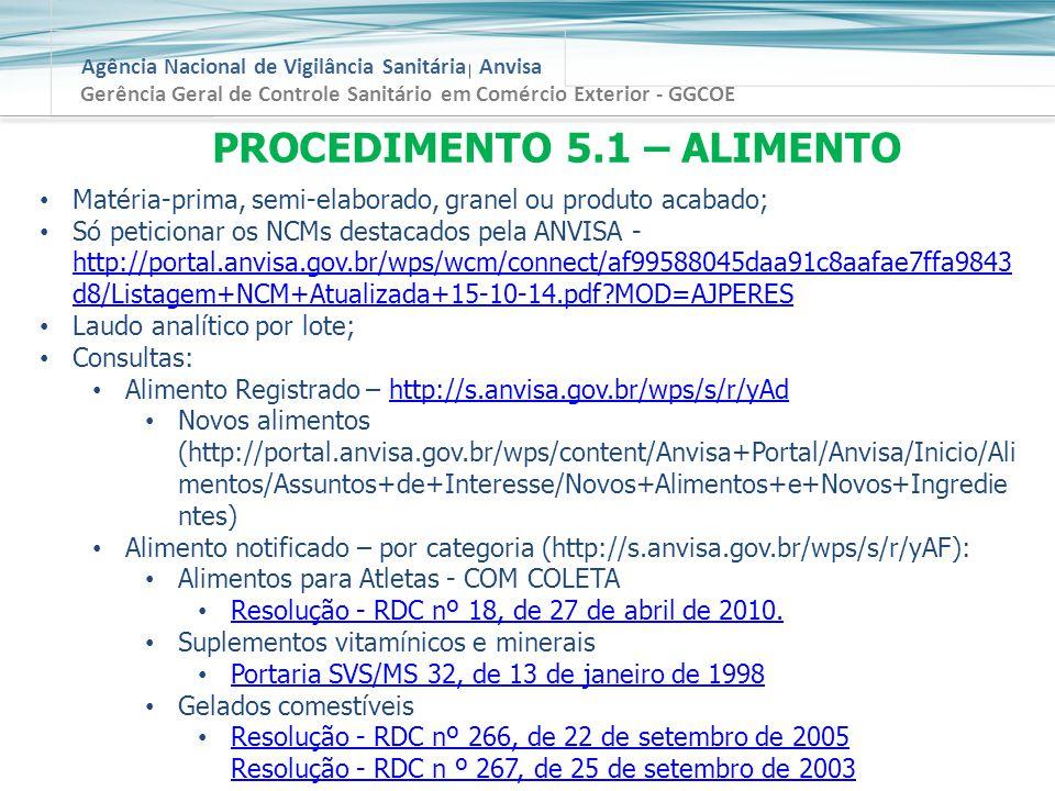 PROCEDIMENTO 5.1 – ALIMENTO
