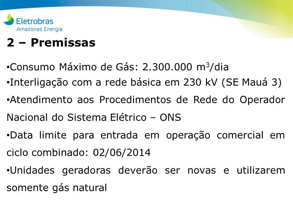 2 – Premissas Consumo Máximo de Gás: 2.300.000 m3/dia