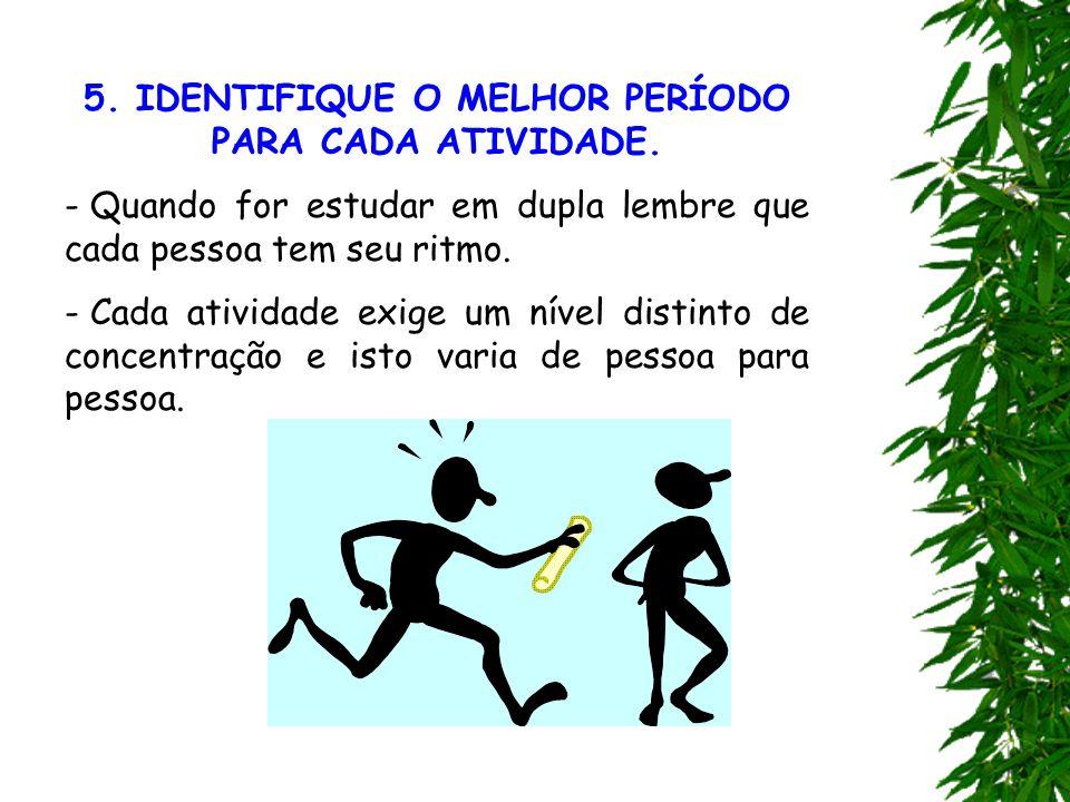 5. IDENTIFIQUE O MELHOR PERÍODO PARA CADA ATIVIDADE.
