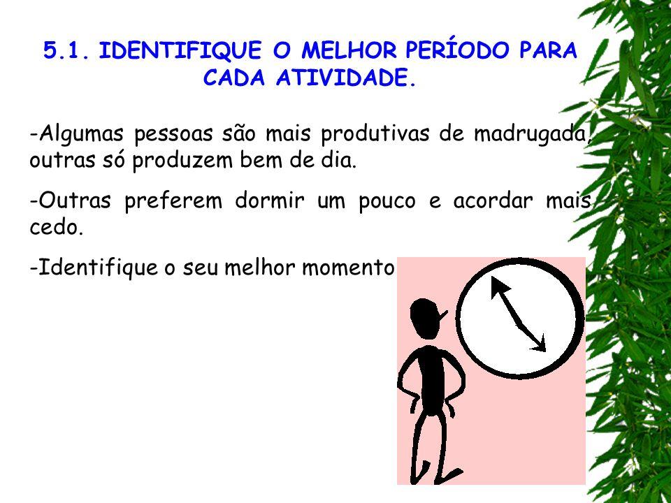 5.1. IDENTIFIQUE O MELHOR PERÍODO PARA CADA ATIVIDADE.
