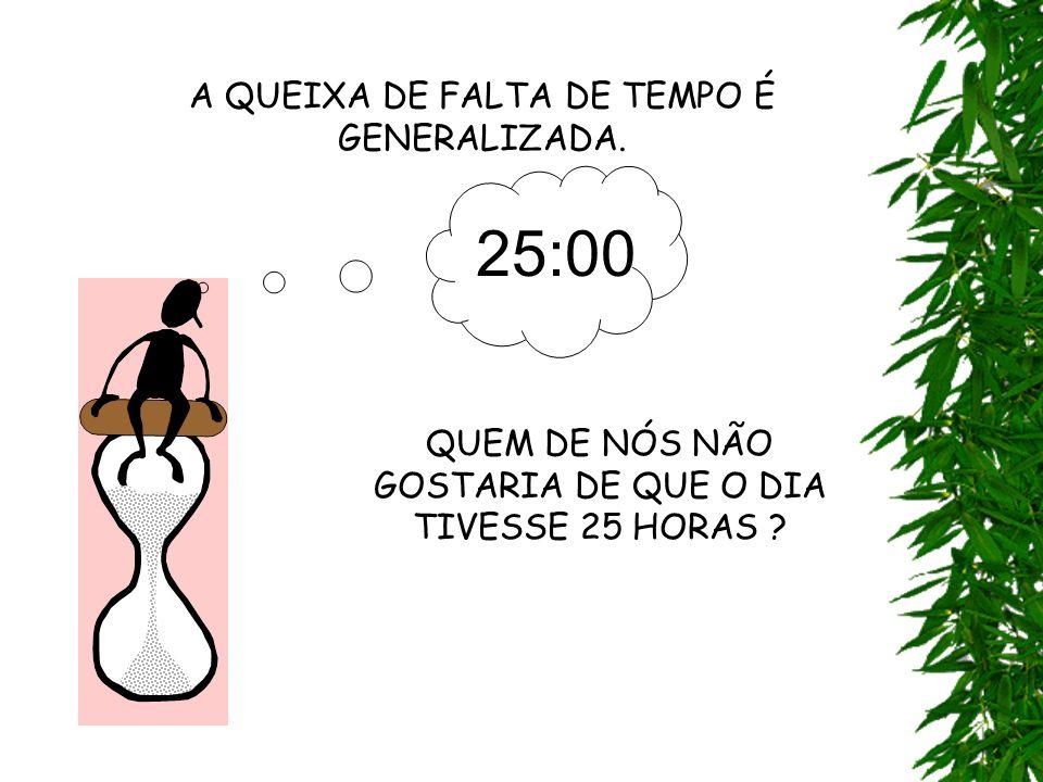 25:00 A QUEIXA DE FALTA DE TEMPO É GENERALIZADA.