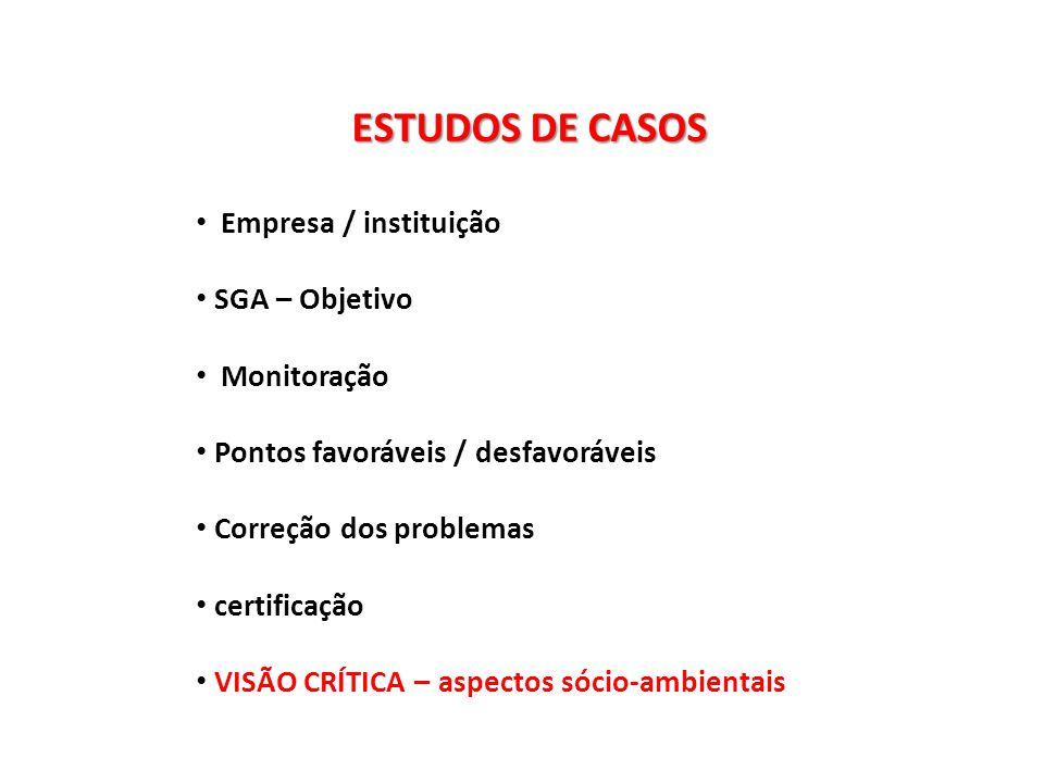 ESTUDOS DE CASOS Empresa / instituição SGA – Objetivo Monitoração
