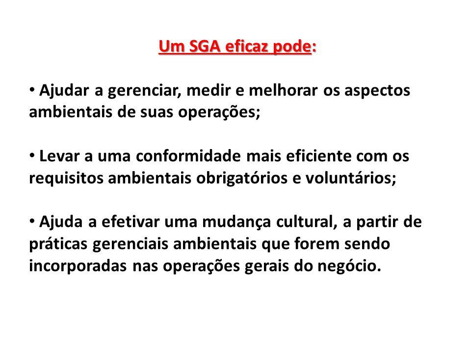 Um SGA eficaz pode: Ajudar a gerenciar, medir e melhorar os aspectos ambientais de suas operações;