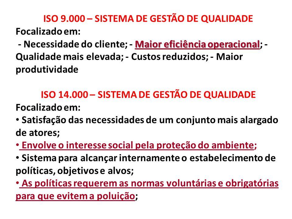 ISO 9.000 – SISTEMA DE GESTÃO DE QUALIDADE Focalizado em: