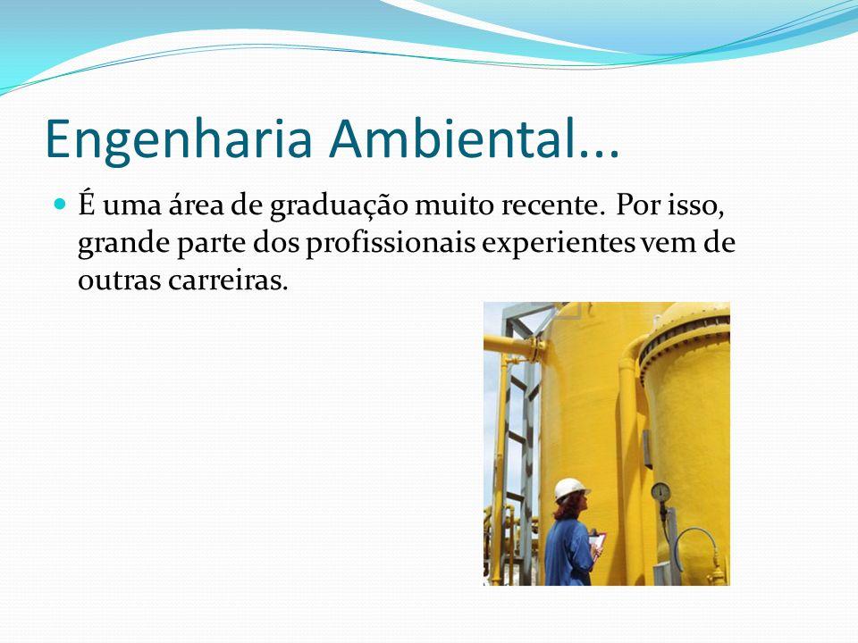 Engenharia Ambiental...É uma área de graduação muito recente. Por isso, grande parte dos profissionais experientes vem de outras carreiras.