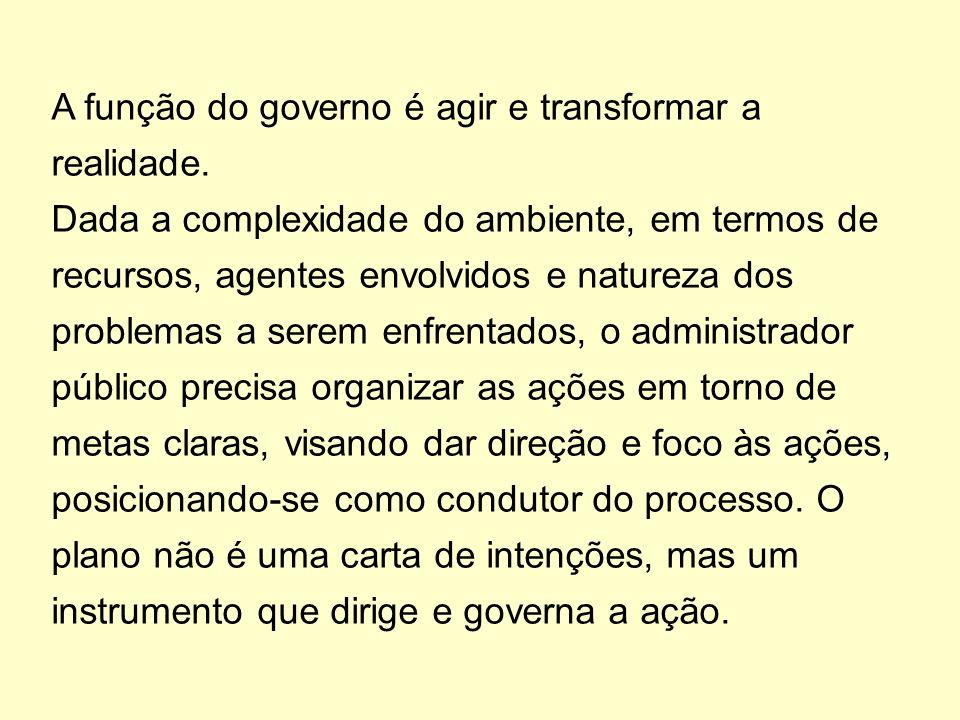A função do governo é agir e transformar a realidade.