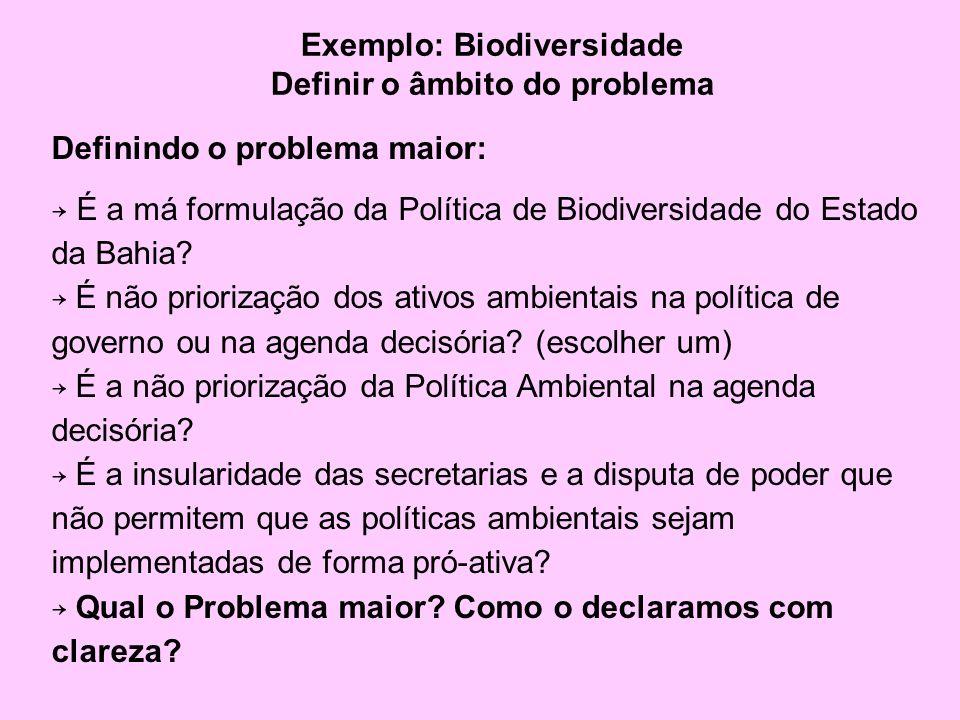 Exemplo: Biodiversidade Definir o âmbito do problema