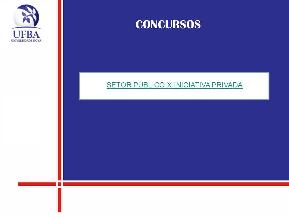 SETOR PÚBLICO X INICIATIVA PRIVADA