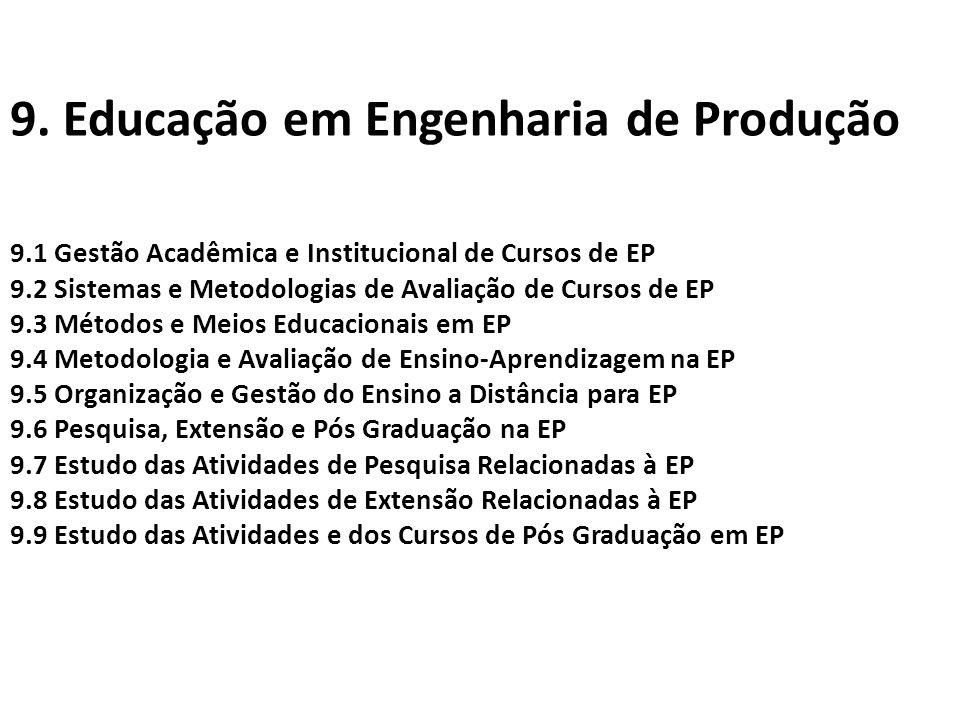 9. Educação em Engenharia de Produção