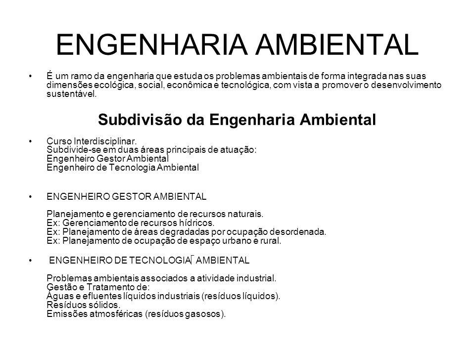 Subdivisão da Engenharia Ambiental