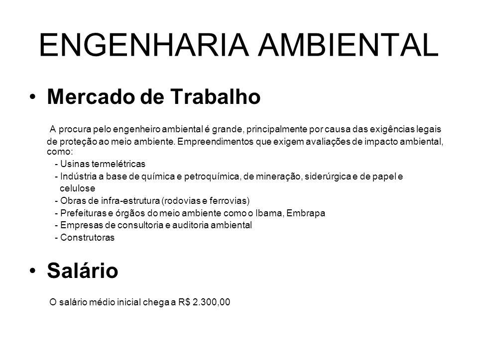 ENGENHARIA AMBIENTAL Mercado de Trabalho