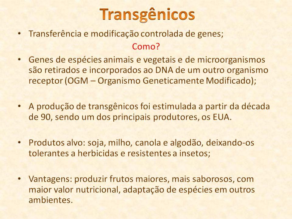 Transgênicos Transferência e modificação controlada de genes; Como