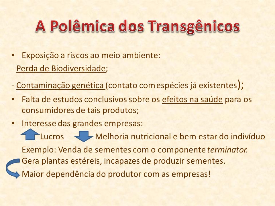 A Polêmica dos Transgênicos