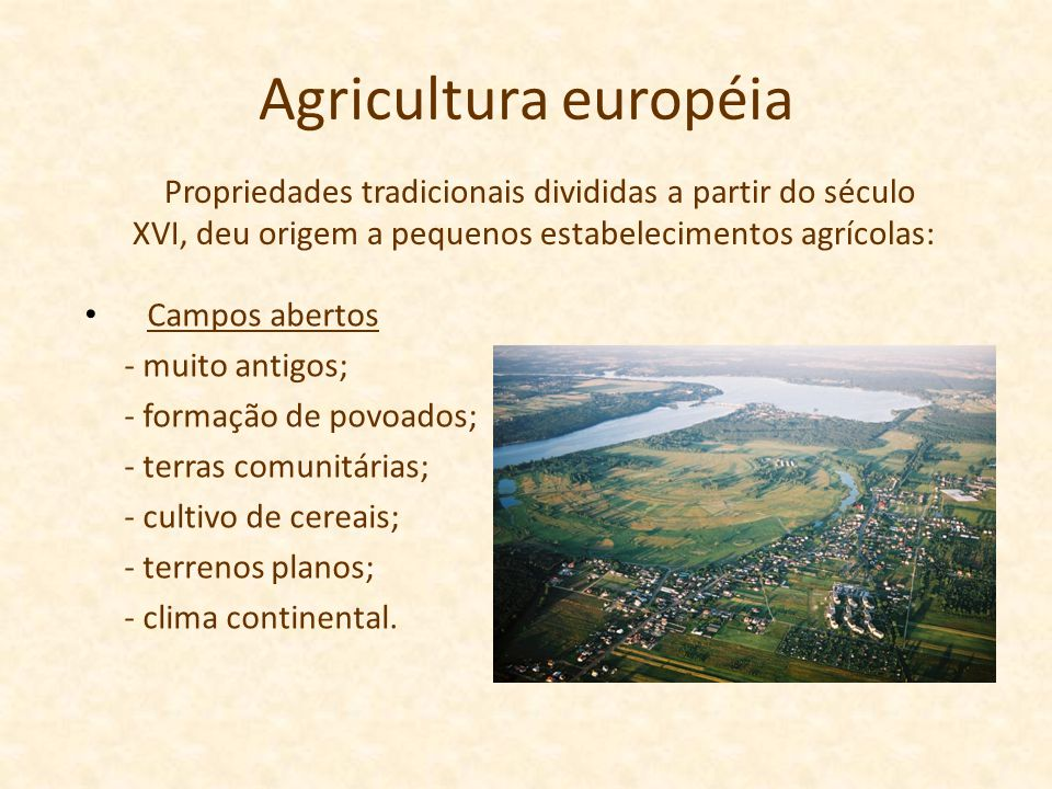 Agricultura européia Propriedades tradicionais divididas a partir do século XVI, deu origem a pequenos estabelecimentos agrícolas: