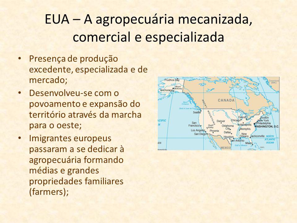 EUA – A agropecuária mecanizada, comercial e especializada
