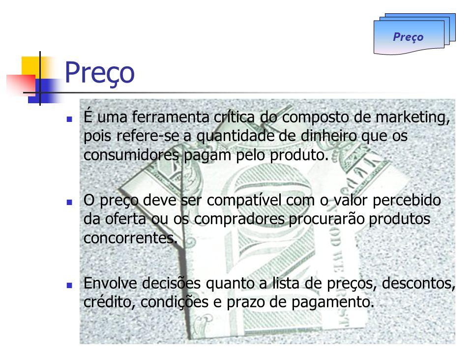 Preço Preço. É uma ferramenta crítica do composto de marketing, pois refere-se a quantidade de dinheiro que os consumidores pagam pelo produto.