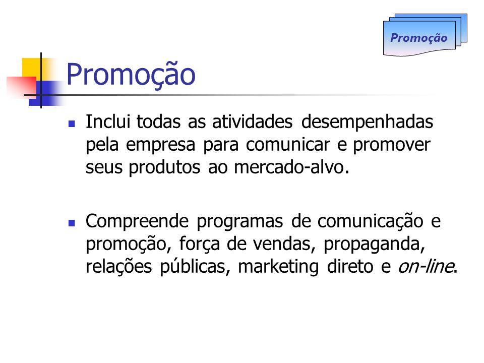 Promoção Promoção. Inclui todas as atividades desempenhadas pela empresa para comunicar e promover seus produtos ao mercado-alvo.