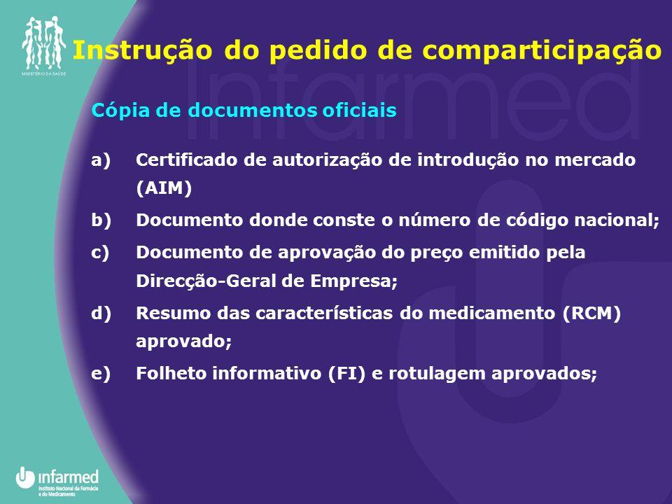 Instrução do pedido de comparticipação