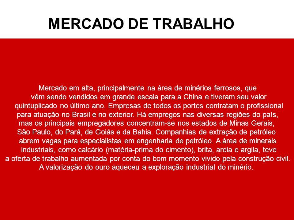 MERCADO DE TRABALHO Mercado em alta, principalmente na área de minérios ferrosos, que.