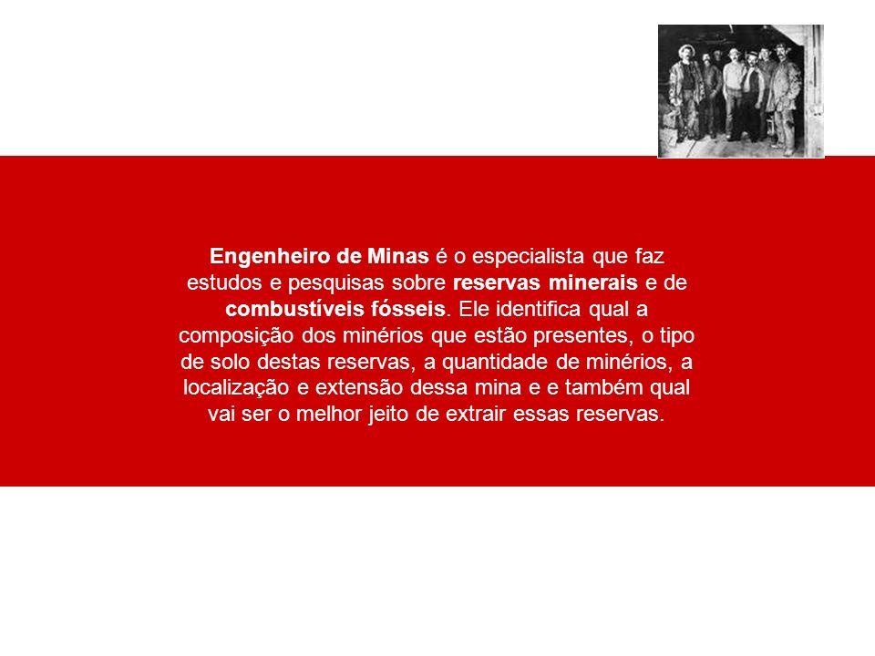 Engenheiro de Minas é o especialista que faz estudos e pesquisas sobre reservas minerais e de combustíveis fósseis.