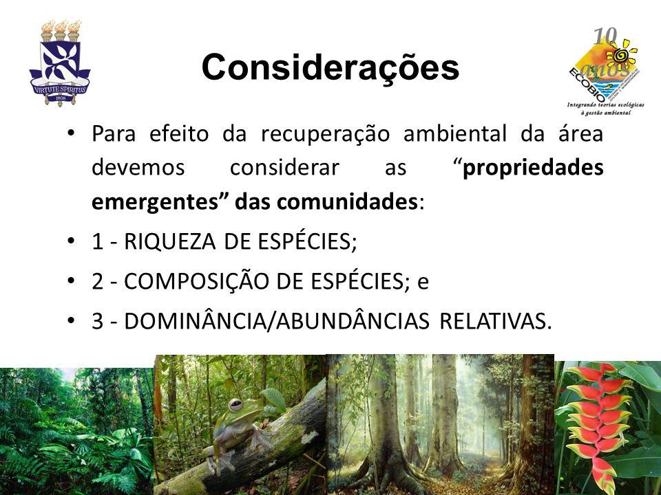 Considerações Para efeito da recuperação ambiental da área devemos considerar as propriedades emergentes das comunidades: